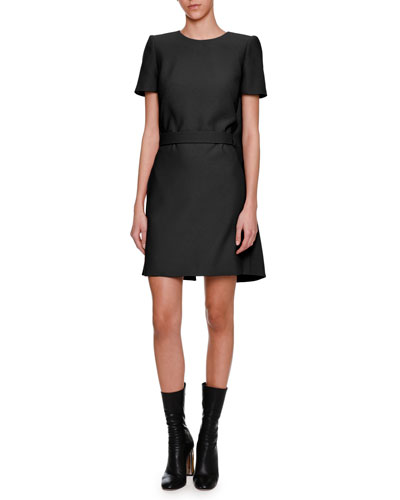 Short-Sleeve Cape-Back Dress, Black