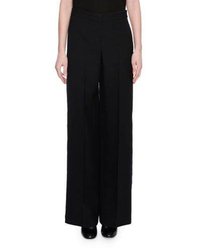 Wide-Leg Wool-Crepe Tuxedo Pants, Black