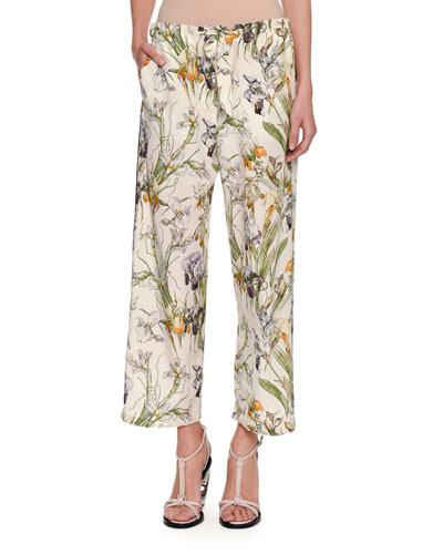 Iris-Print Crepe de Chine Drawstring Pants, Ivory