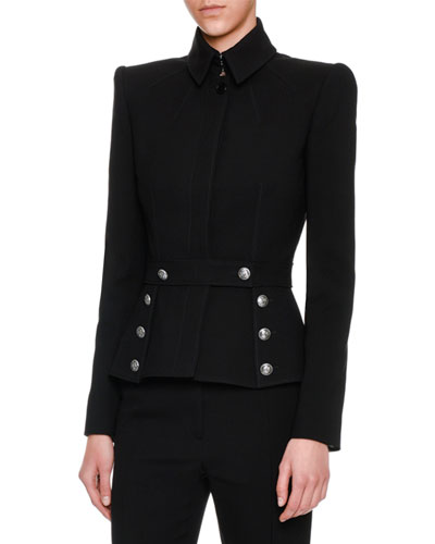 Wool Sailor-Button Jacket, Black