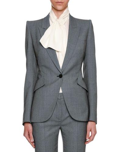 Birdseye Classic Suiting Jacket, Black/White