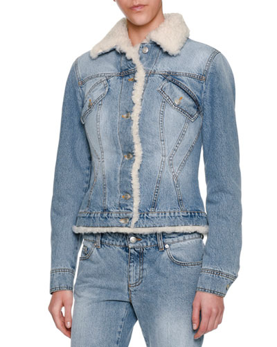 Embellished mythical logo patch shearling denim jacket