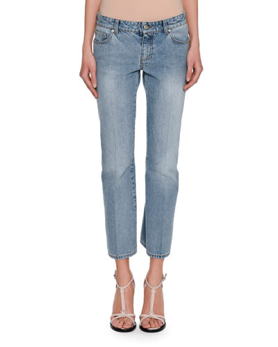Cropped Denim Kickback Jeans, Blue
