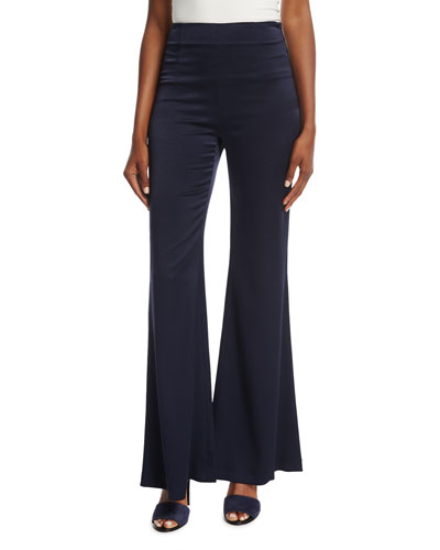 Flared High-Waist Satin Pants