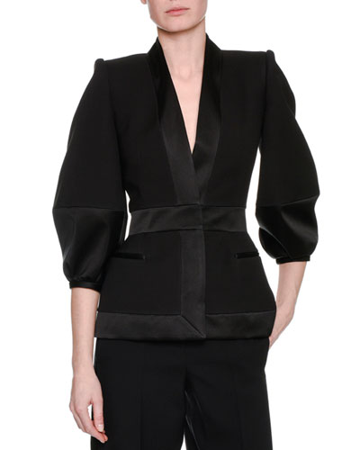 Satin-Trim Balloon-Sleeve Jacket, Black