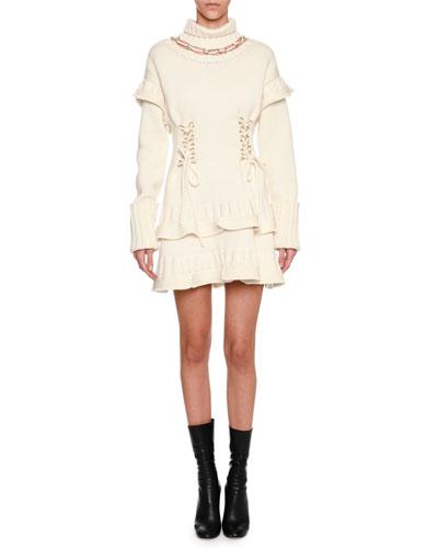 Mock-Neck Lace-Up Sweaterdress, Ivory