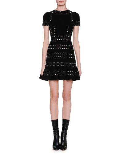 Grommet-Studded Short-Sleeve Dress, Black