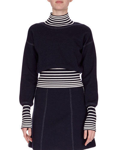 Striped Turtleneck Combo Top, Navy