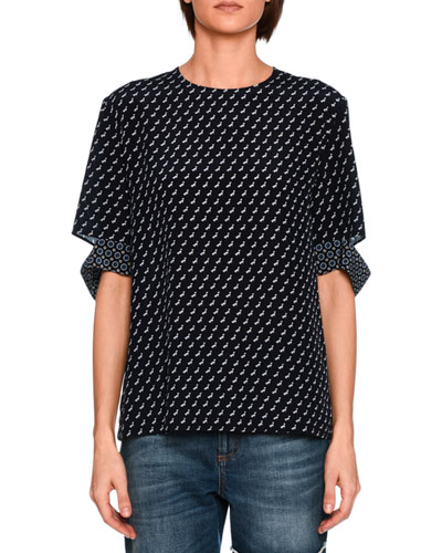 Dog-Print Cutout Silk Top, Navy