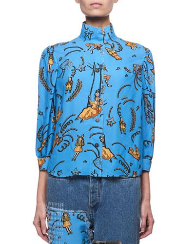 Printed High-Neck Blouse, Blue Pattern