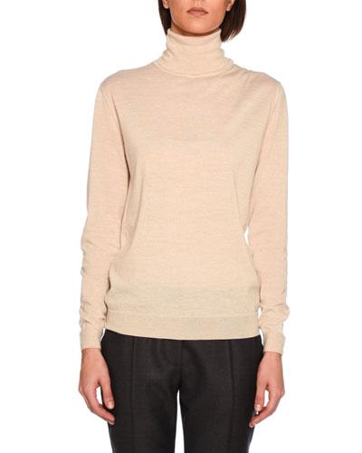 Lightweight Knit Turtleneck Sweater, Sand