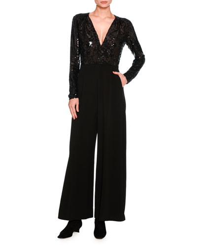 Long-Sleeve Sequined V-Neck Jumpsuit, Black