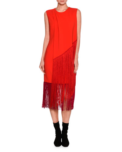Sleeveless Fringed Midi Dress, Orange/Pink