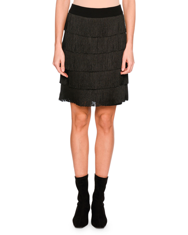 Tiered Fringe Mini Skirt, Black