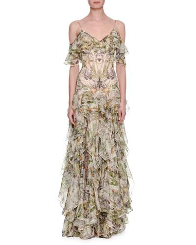 Floral Georgette Off-Shoulder Gown, Ivory