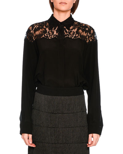 Crepe de Chine Lace Blouse, Black