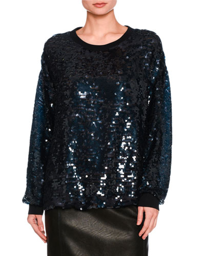 Sequined Cotton Sweatshirt, Navy