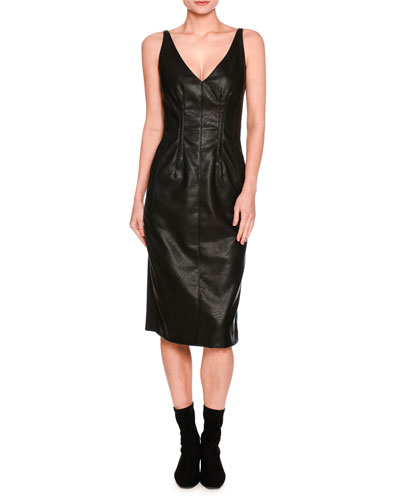 Sleeveless V-Neck Faux-Leather Dress, Black