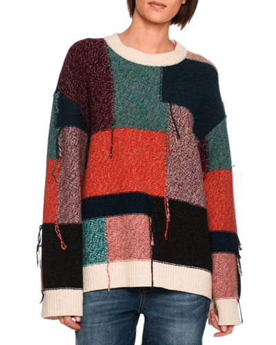 Colorblock Knit Wool Sweater, Multi Pattern
