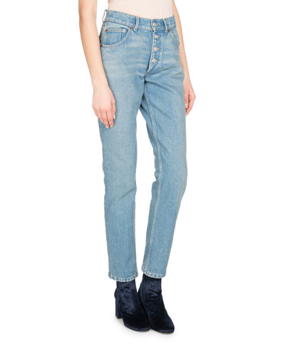 High-Waist Denim Jeans, White