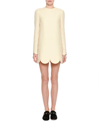 Long-Sleeve Scalloped Crepe Dress, Ivory