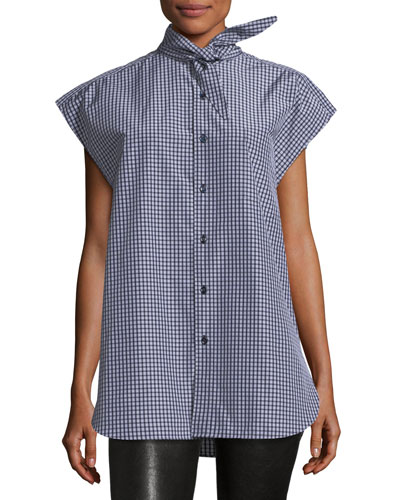 Plaid Taffeta Tie-Neck Top