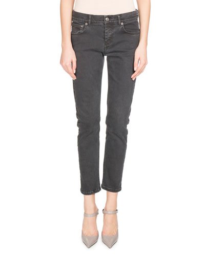 Shrunken Denim Skinny Jeans, Black