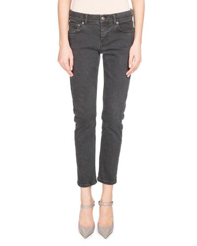 Shrunken Denim Skinny Jeans, Black