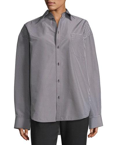 Check-Print Taffeta Jacket, Brown/White