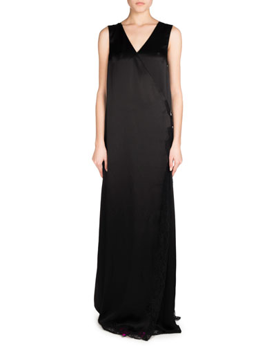 Sleeveless Fluid Satin Wrap Gown, Black