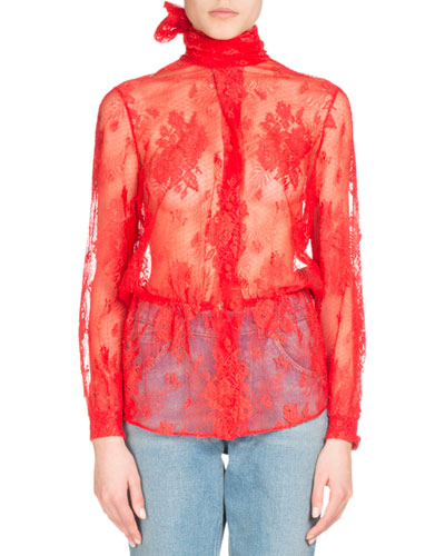 Lace Scarf-Tie Blouse, Red in Postbox-Red