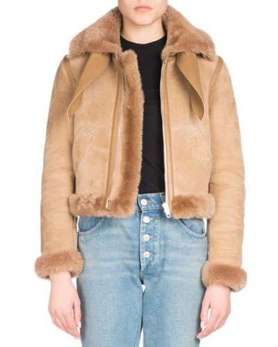 Shearling-Trimmed Bomber Jacket