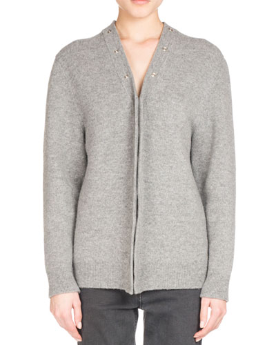 Snap-Front Wool-Blend Cardigan, Gray