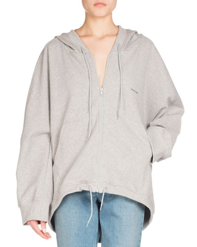 Hooded Zip-Front Cocoon Sweatshirt, Light Gray