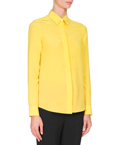 Crepe de Chine Blouse, Yellow
