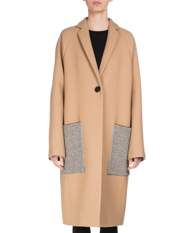 Long Patch-Pocket Wool Coat, Camel