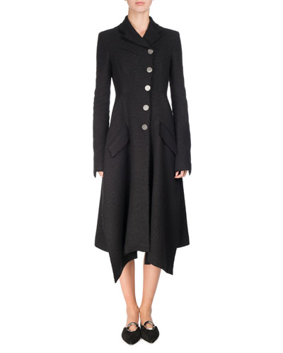 Asymmetric Notch-Collar Tweed Coat, Black