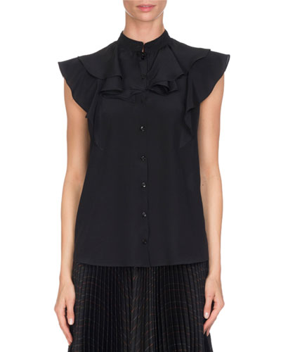 Crepe de Chine Ruffle-Neck Top, Black