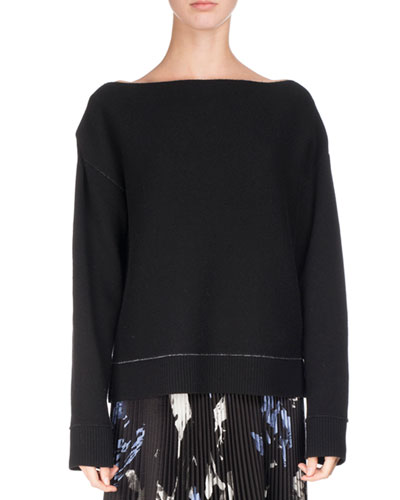 Off-Shoulder Double-Face Cashmere Sweater, Black/Blue