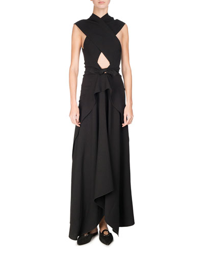 Cross-Front Tie-Waist Maxi Dress, Black