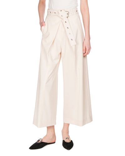 Pleat-Front Wool-Stretch Culottes, Ecru