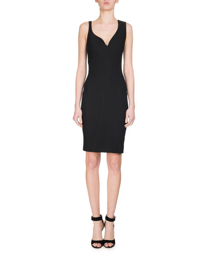 Sleeveless Sweetheart Pencil Dress, Black