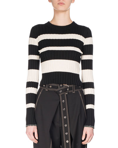 Crewneck Striped Knit Sweater, White/Black