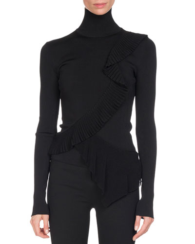 Knit Ruffle-Trim Turtleneck Sweater, Black