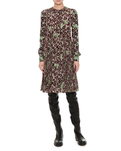 Floral-Embroidered Crepe Dress, Green/Red