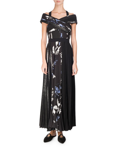 Long Pleated Floral-Print Dress, Multi Pattern