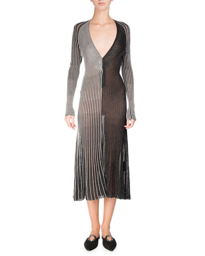 Metallic Knit V-Neck Midi Dress, Silver
