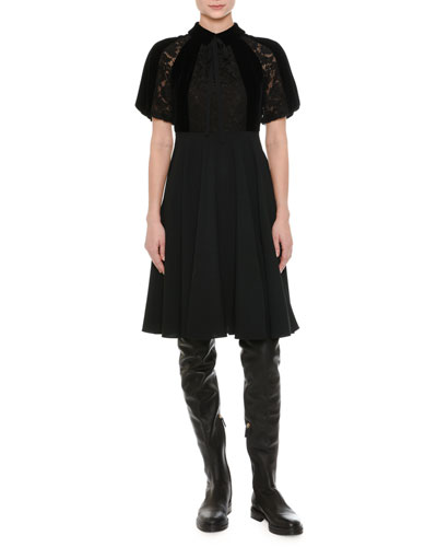 Short-Sleeve Lace & Velvet Dress, Black