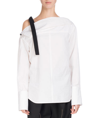 Poplin Tie-Shoulder Blouse, White