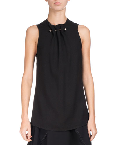 Sleeveless Crepe Top w/Barbell Detail, Black
